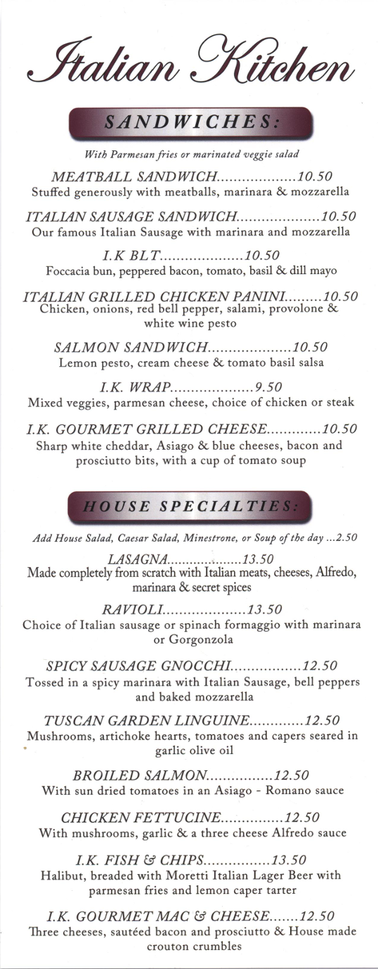 Lunch Menu - Visit our restaurant for Italian food, including ravioli, spaghetti, chicken parmesan, and lasagna. Located in Spokane, Washington.