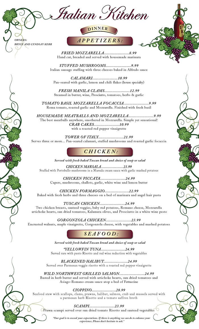 italian food menu picture image by tag keywordpictures